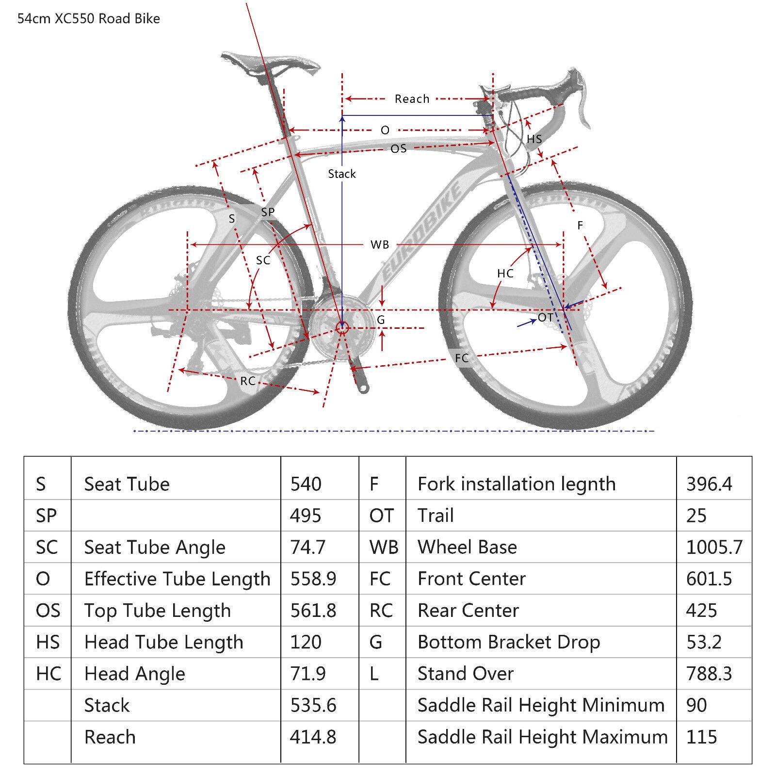70e9966fb86 EUROBIKE Road Bike 700C Wheels 21 Speed Disc Brake Bicycle, Size M - 54cm  for sale online | eBay