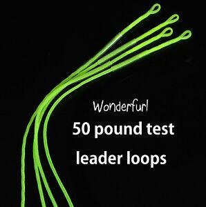 Wonderfurl-Braided-Chartreuse-Fly-Fishing-Leader-Loops-50-Lb-test-4-pack