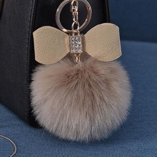 Fourrure de Lapin POM-POM Key Chain Sac charme moelleux PUFF BALL Bow voiture Pendentif Porte-clés
