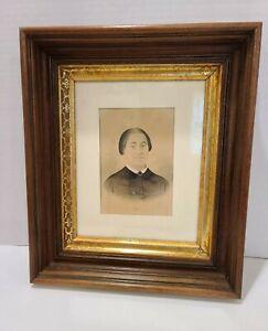 Vintage Antique Wood Gold Gilt Deep Well Water Color Portrait Frame Eastlake Old