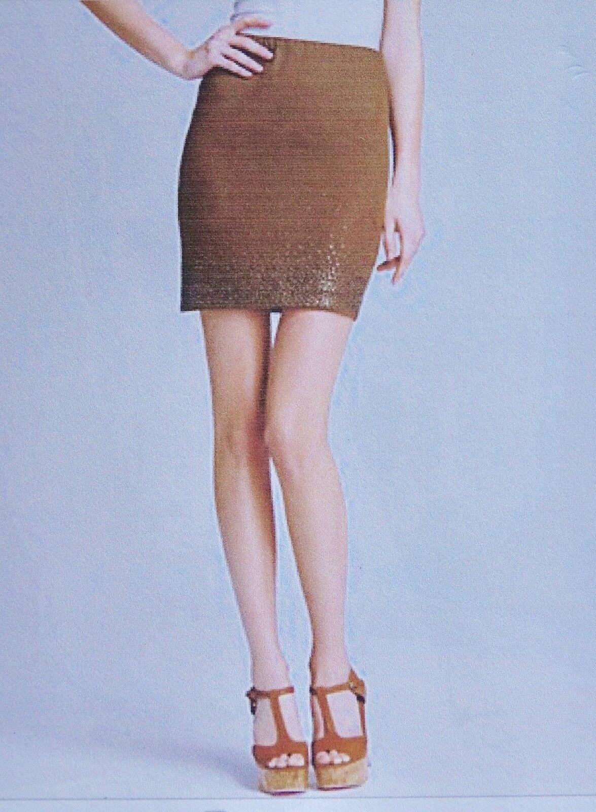 NWT women Karan New York Casual Luxe size 8 Studded Linen Jersey Skirt