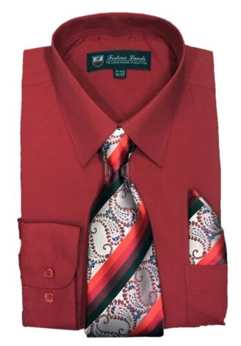 Comes in 22 Colors #21B Men/'s Dress Shirt with Matching Tie Handkerchief