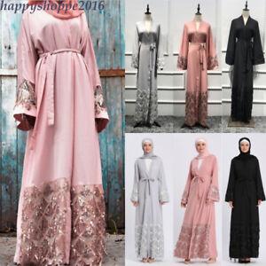 5ae101c752 Dubai Sequin Abaya Kimono Cardigan Tunic Long Gown Muslim Women ...