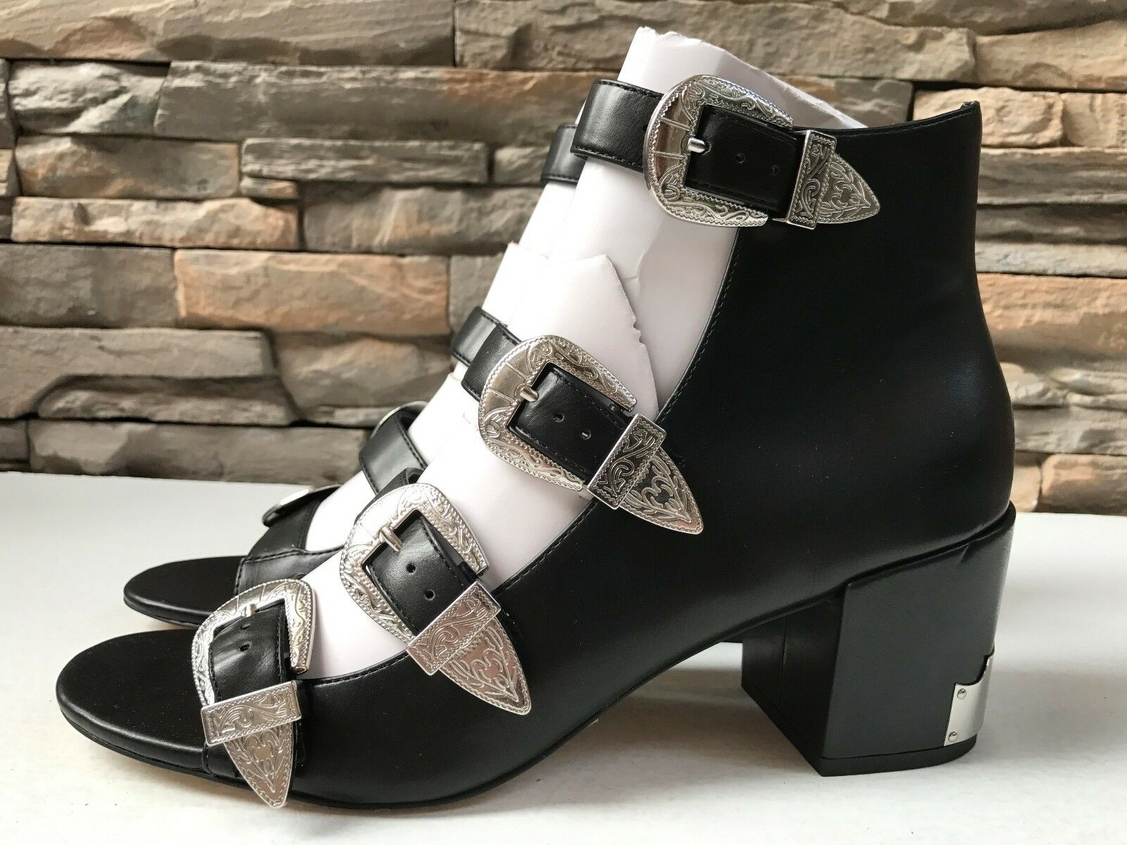 Asos Over Time Western Western Time Black Gladiator Sandals with Buckles Heels US10 EU41 UK8 85f734