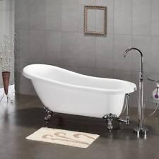 61 Claw Foot Acrylic Slipper Bathtub NO Faucet Holes Chrome Feet Maries