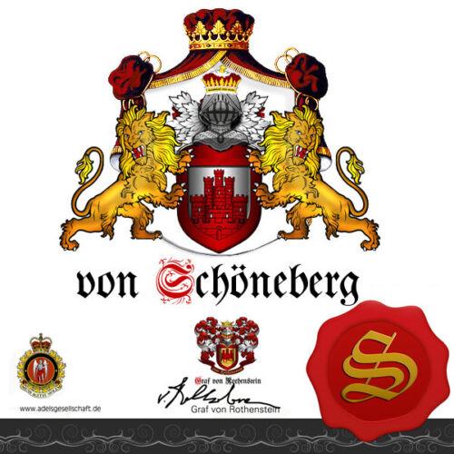 Urkunde Adelstitel ★GRAF GRÄFIN von SCHÖNEBERG  Wappen Adelsdiplom ★