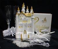 SALE Fairytale Castle Cake Topper wedding LOT Glasses Server Knife Guest book