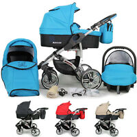 Baby Travel System - Swivel Wheels Pram Pushchair - Free Car Seat 3in1 Buggy