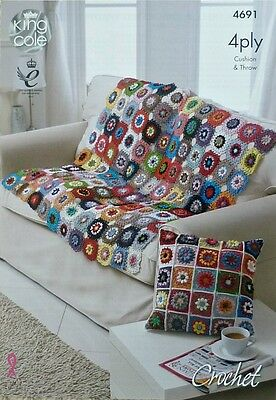 Floral Trellis Blanket /& Cushion Cover 4 Ply Crochet Pattern King Cole 4ply 4691