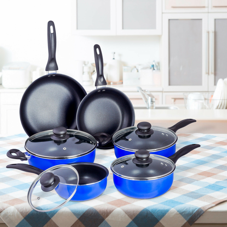 10 piezas Juego de utensilios de cocina de cerámica antiadherente Salsa Ollas Sartén Tapa De Vidrio-Azul Negro