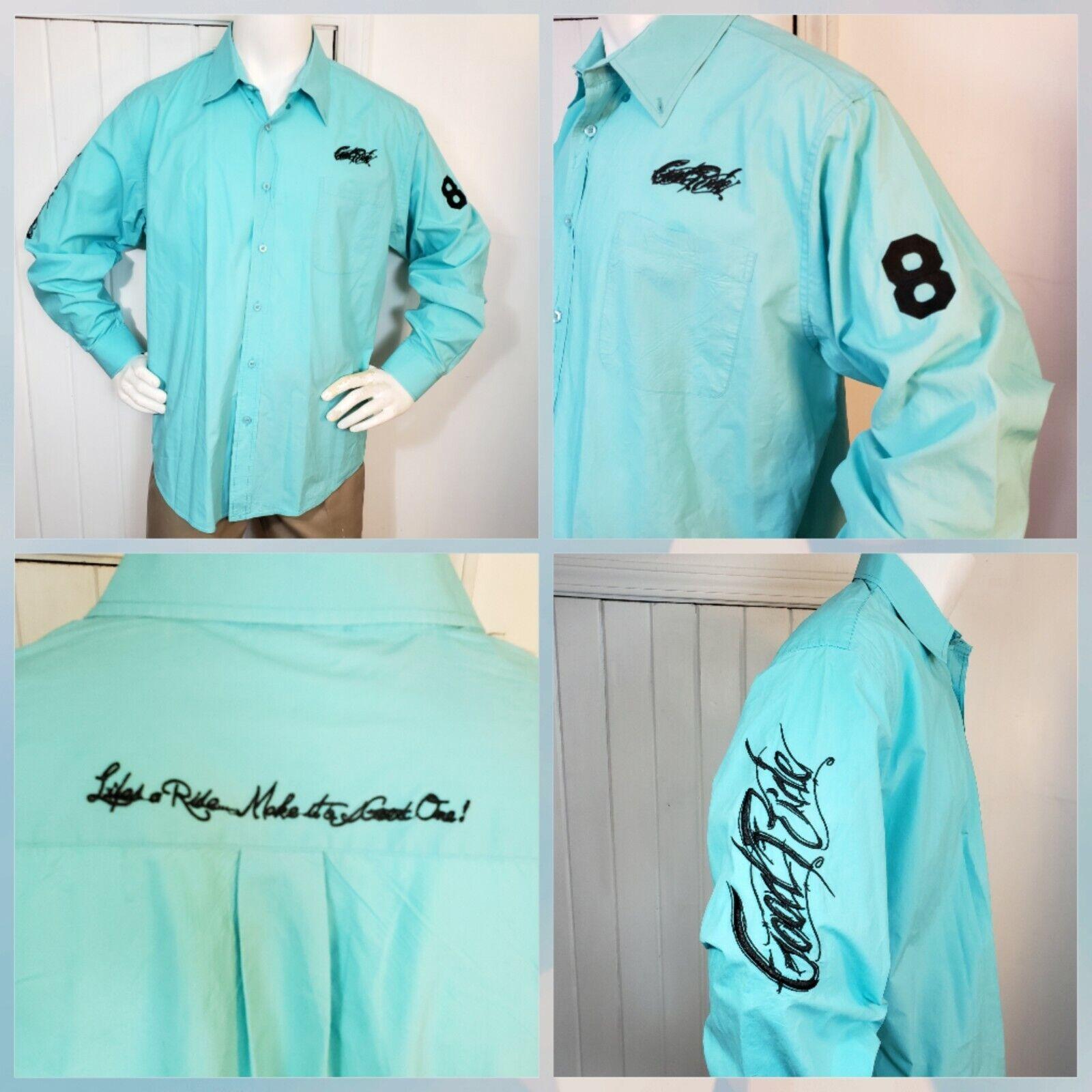 Buen paseo vida mostrar Western Botones Camisa De Vestir Talla XL Cerceta Azul Ecuestre