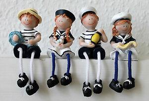4er Set Kantenhocker Matrosenkinder 12cm Kantensitzer Matrosen Figuren