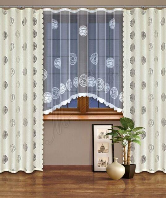 Modern, jacquard set net window curtains with curtain tape WHITE/CREAM