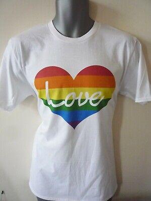 LOVE LGBTQ INSPIRED HEART T-SHIRT GAY PRIDE RAINBOW MARDI GRAS