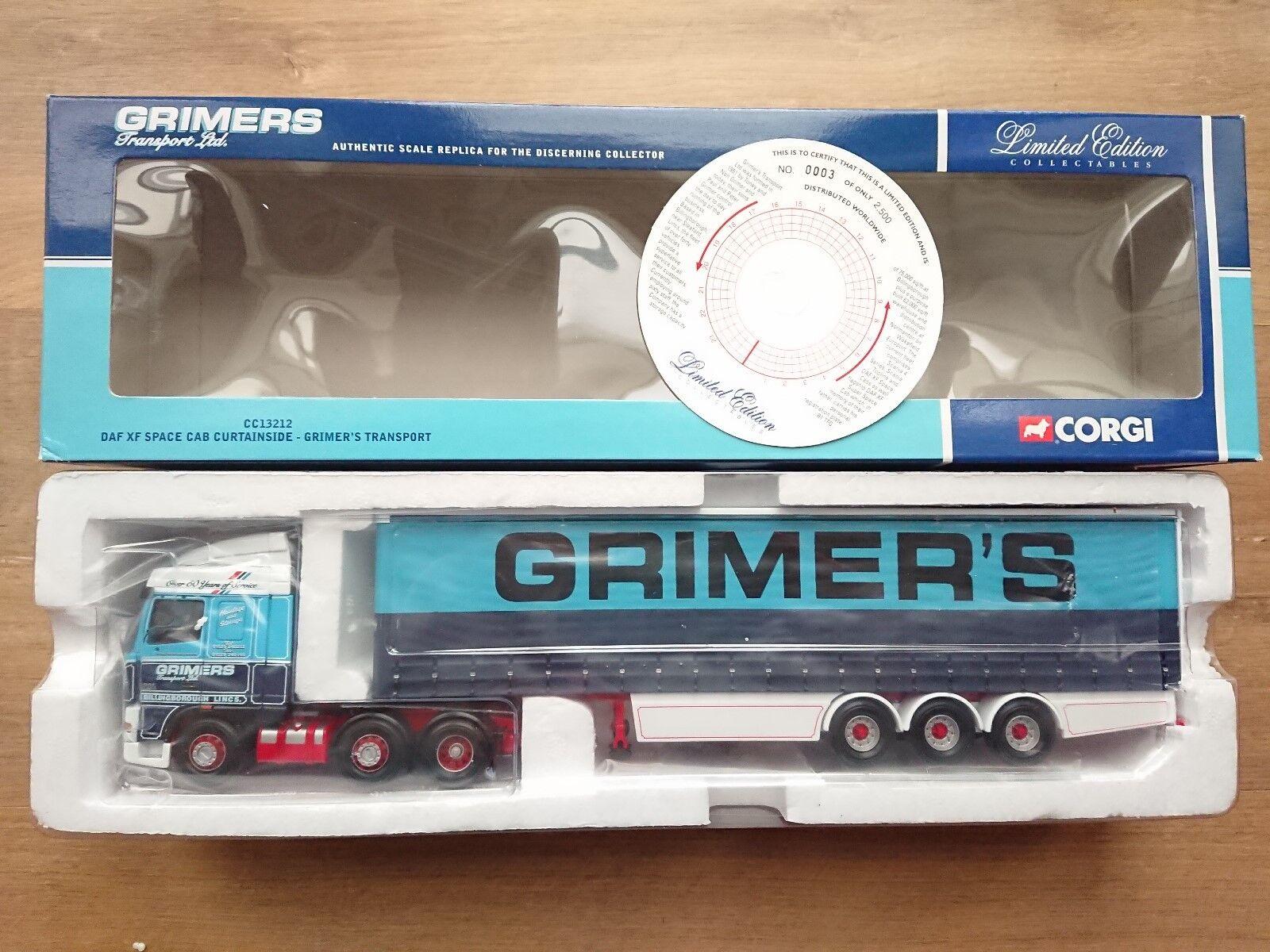 Corgi CC13212 DAF XF espacio Cab Curtainside grimers transporte Ltd Ed 0003 de 2500