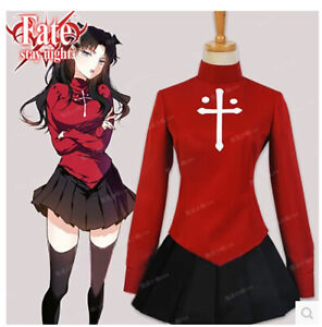 Fate-Stay-Night-Rin-Tohsaka-Cosplay-Costume-Uniform-Dress-Suit-Outfit-Halloween
