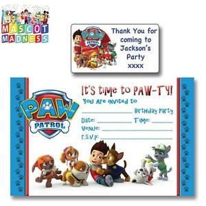 Image Is Loading Paw Patrol Party Invitations Invites Amp Personalised Name