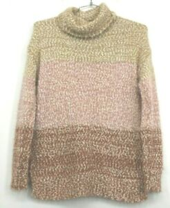 Lauren-Conrad-LC-Women-039-s-Small-Fuzzy-Knitted-Long-Sleeve-Pink-Sweater-Casual