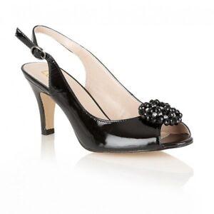 Lack Leather Heels Patent Lotus Fascination Size scarpe 6 Beaded Peeptoe Bnib U7BqEIxx