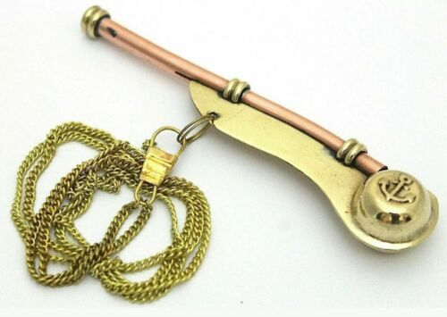 Bosun/'s Whistle Boatswains Pipe with neck chain Brass