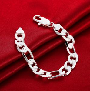 Mens-Womens-925-Sterling-Silver-12mm-Figaro-Cuban-Flat-Link-Chain-Bracelet-B429