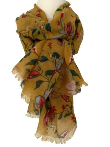 Mustard Yellow Scarf Ladies Pink Red Flowers Wrap Pretty Floral Print Shawl