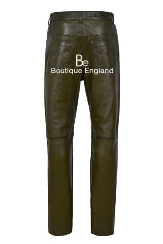 Mens Olive Green Leather Trouser Soft Leather Designer Slim Fit Jeans Trousers