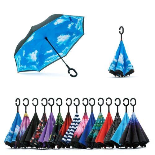 C-Handle Double Layer Umbrella Windproof Folding Inverted Upside Down Reverse p