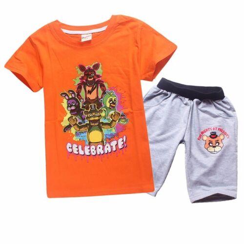 FNAF Boys Girls Tops Five Nights at Freddy/'s Unisex T-shirt Cotton pajamas Set