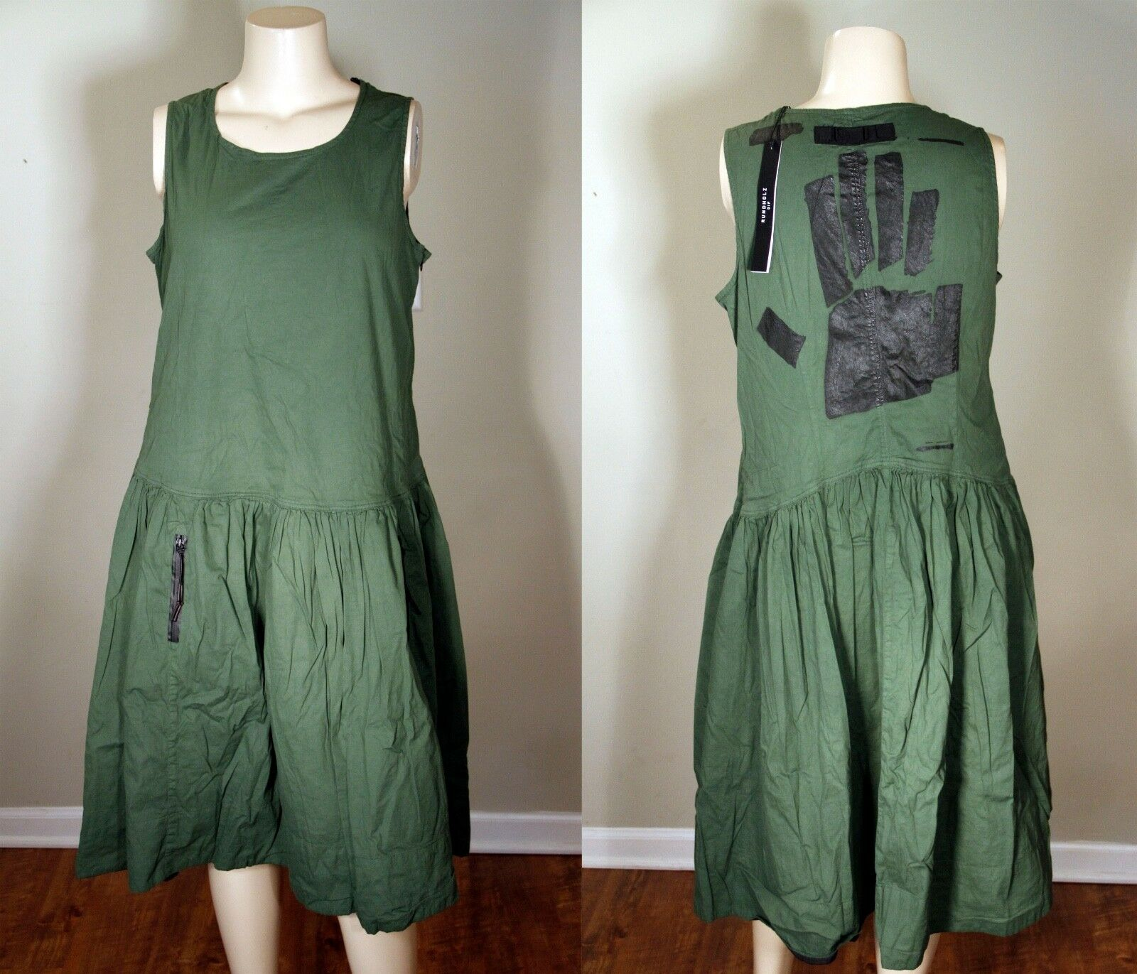 SALE  NWT - RUNDHOLZ DIP -GREEN DRESS WITH HAND PRINT -XL FANTASTIC