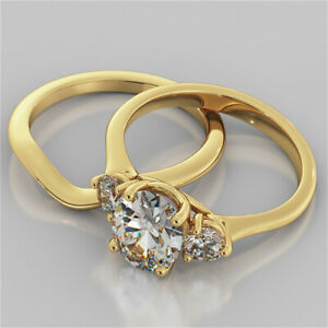 2.60 Ct Oval Cut Moissanite Engagement Band Set 18K Real Yellow Gold Ring Size 6