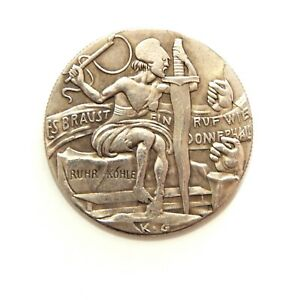 EXONUMIA-MEDAL-CROOKED-JUSTICE-1923-WEIMAR-REPUBLIC-WW-1-SILVERED-TOKEN