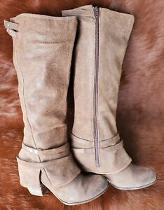 Fergie-Lattitude-Brown-Leather-Zip-Knee-High-Heel-Boots-Womens-Size-8-M-Shoes