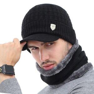 53bbc36ab3b Winter Men Knitted Hat s Sports Knit Visor Beanie Fleece Lined ...