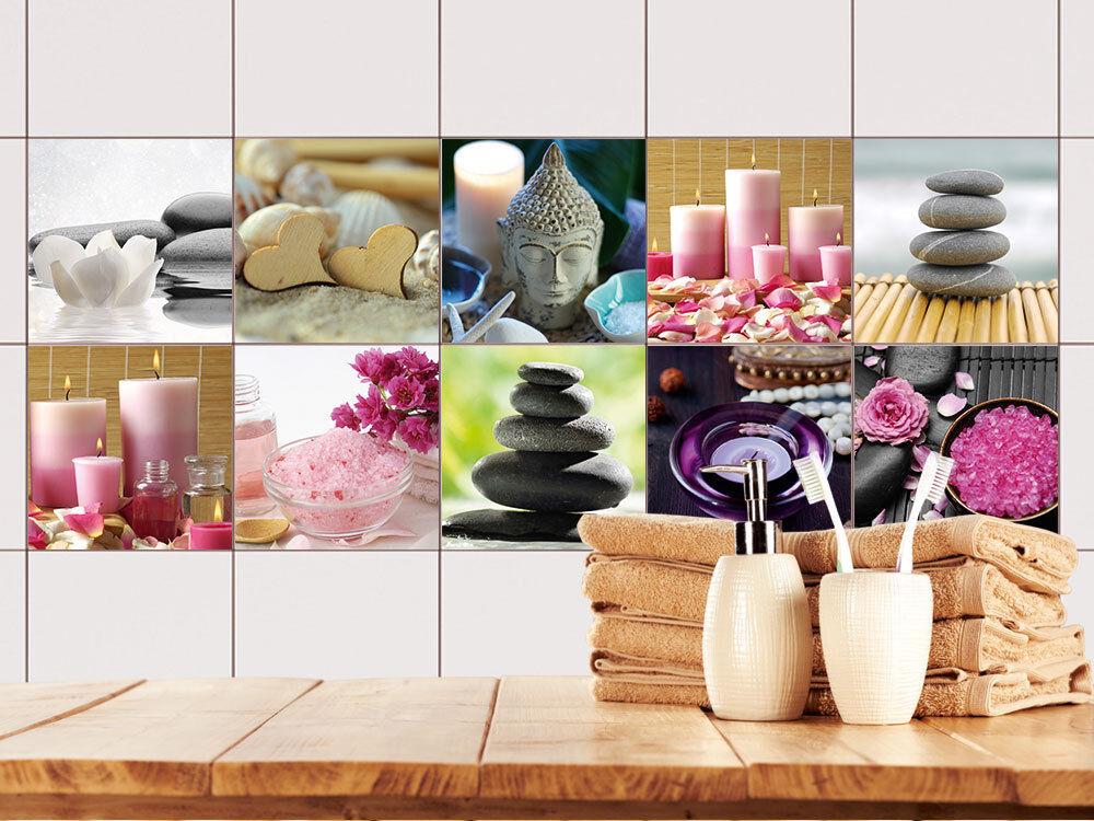 Fliesenaufkleber Set beruhigende Bilder Kerzen Steine Buddha