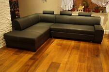Schwarz Echt Leder Ecksofa 260 x 200 Rindsleder Eck Couch Sofa mit Bettfunktion