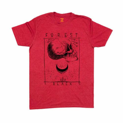 Schwarz Wald T-Shirt S-5XL Siebdruck Herren Gothic Totenkopf Mond Bäume Nacht