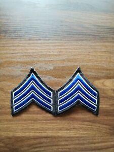 SERGEANT-Blue-White-Black-Trim-CHEVRONS-1-PAIR-Made-in-USA