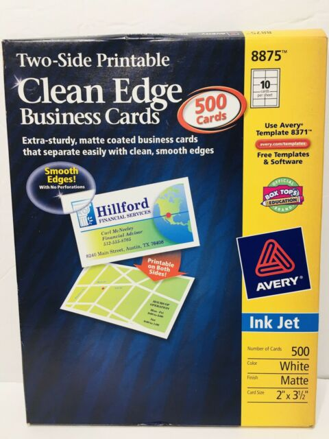 500 Avery 8875 Clean Edge Business Cards Inkjet Print 2 Side Matte White For Sale Online Ebay