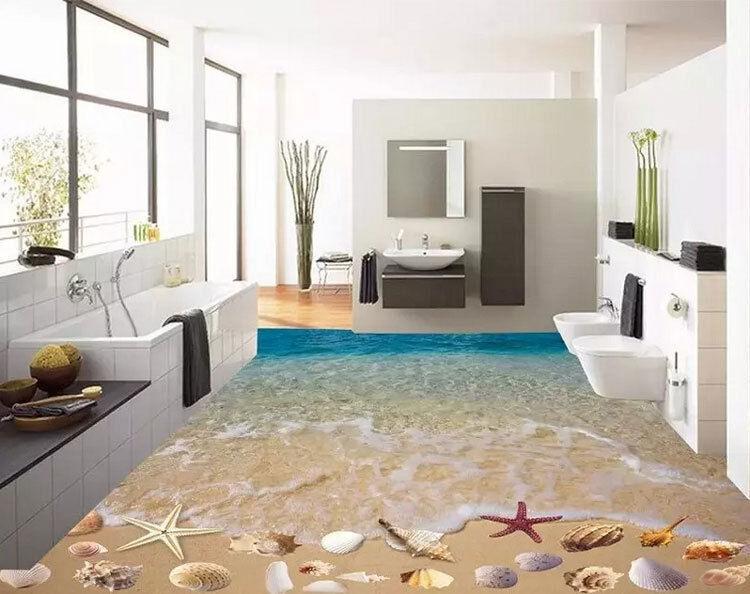 3D Seashell Beach Sand Floor Mural Photo Flooring Wallpaper Waterproof Home Deca