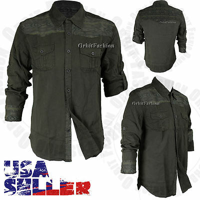 Men's Smoke Rise Button Down Shirt Casual Cotton Long Sleeve Slim Fit Top L-2XL