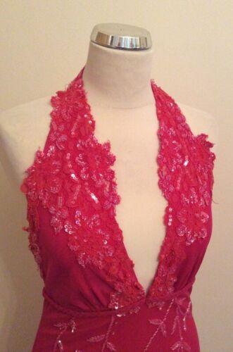 dos perles vif taille Aftershock cocktail nu à de New M rose Robe et sequins avec vXfqxaAg