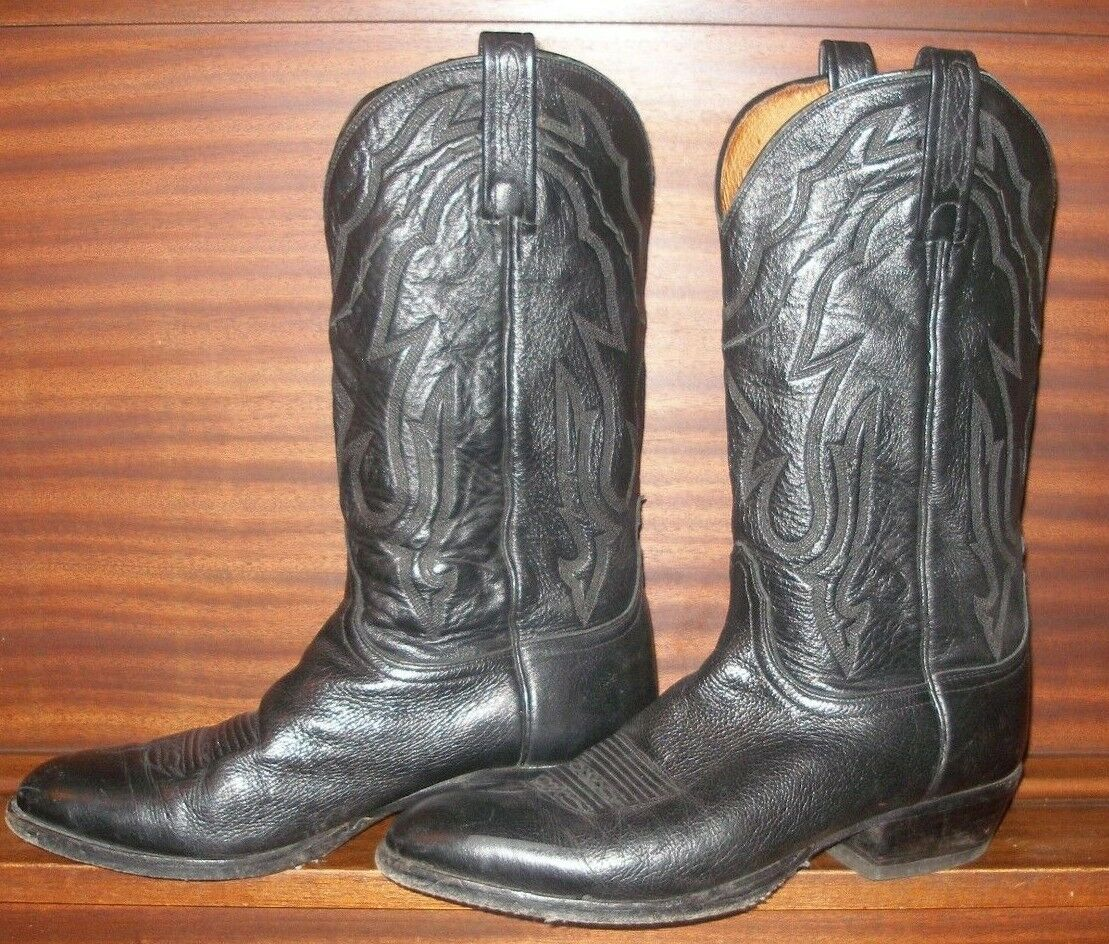 Lucchese Classics Men Carson Lonestar Calf Cowboy Riding Boot Black