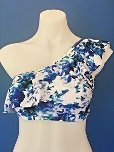 f0519f1e80 DOTTI Floral Frill Bikini Top One Shoulder Blue White Summer Size ...