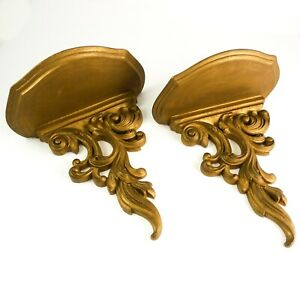 FINE-Pair-Vintage-Ornate-Wall-Shelf-Sconce-Gold-Ornate-Scroll-Design