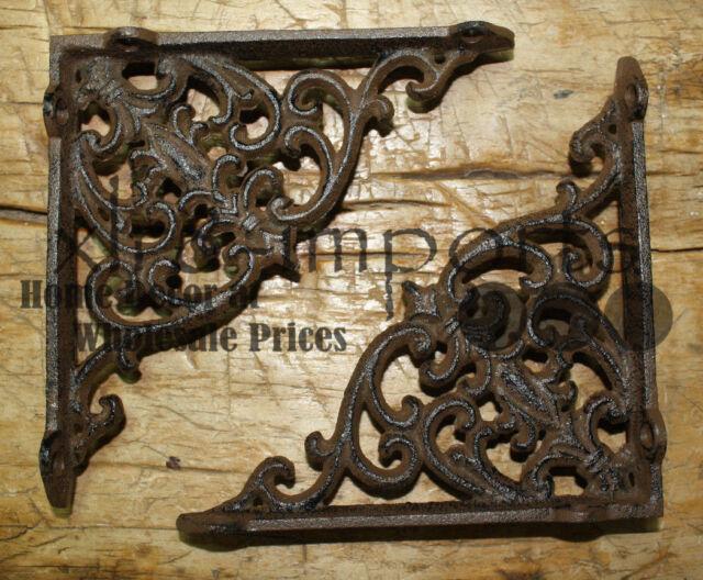 8 Cast Iron Antique Style VICTORIAN SCROLL Brackets Garden Braces Shelf Bracket