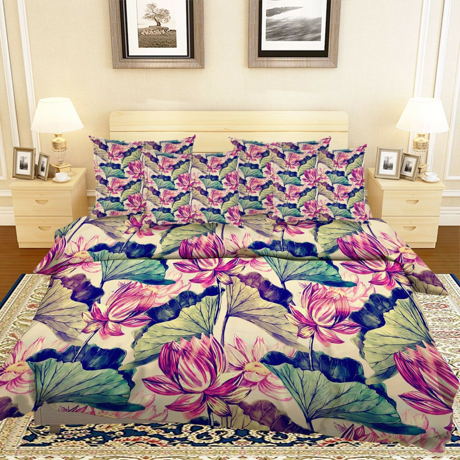 3D Lotus Painted 877 Bed Pillowcases Quilt Duvet Cover Set Single Queen UK Kyra