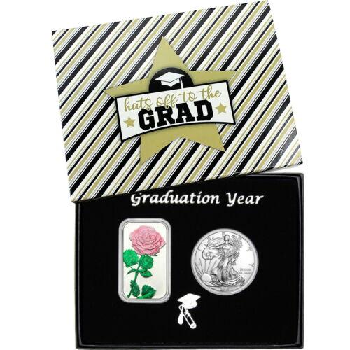 Graduation Year Pink Rose Enameled Silver Bar /&  Silver American Eagle 2pc Set