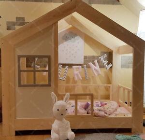Lit-cabane-Lit-pour-enfants-lit-d-039-enfant-lit-cabane-avec-barriere-amp-Ttiroir