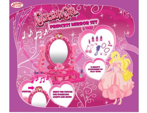 NEW Kids Bambini GLITTER BAMBINA piccola principessa Specchio Set regalo giocattolo luce musicale